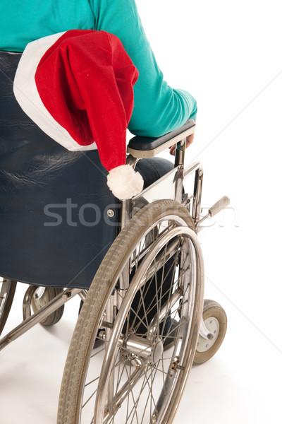Pessoa cadeira de rodas natal equitação seis papai noel Foto stock © ivonnewierink