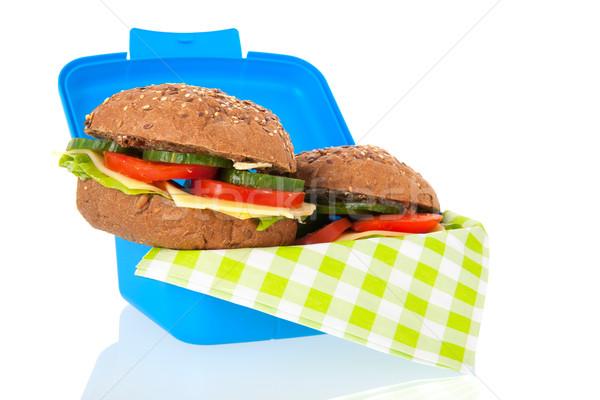 Sani rosolare pane rotolare blu pranzo Foto d'archivio © ivonnewierink