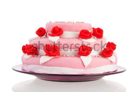 Baba született torta lány izolált fehér Stock fotó © ivonnewierink
