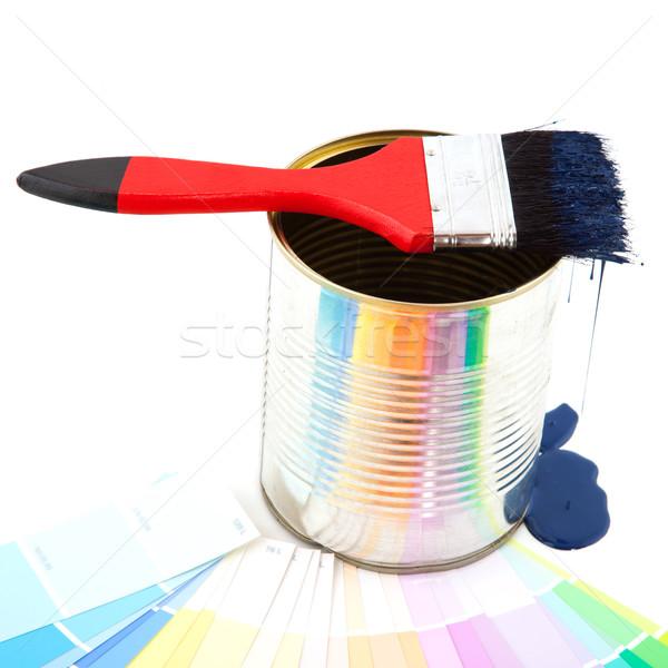 Dripping paint brush Stock photo © ivonnewierink