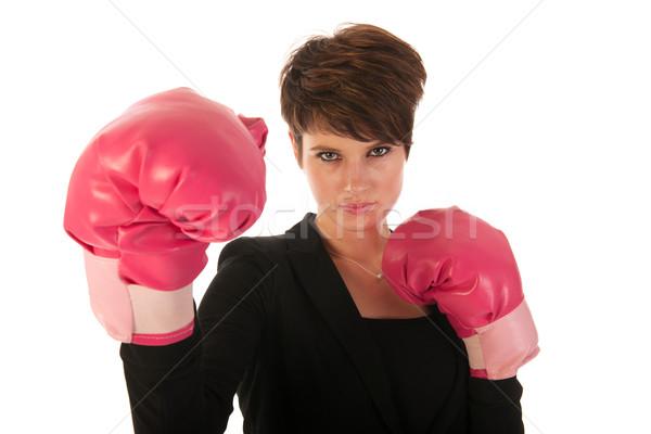 ストックフォト: ビジネス · 若い女性 · ボクシング · 戦う