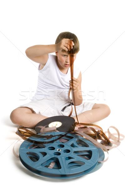 Film giovani bambino guardando film frame Foto d'archivio © ivonnewierink
