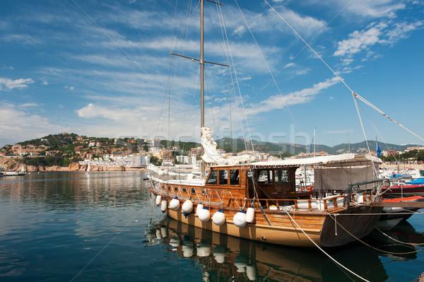 Wooden sail boat in harbor in San Feliu de Gauxols Stock photo © ivonnewierink