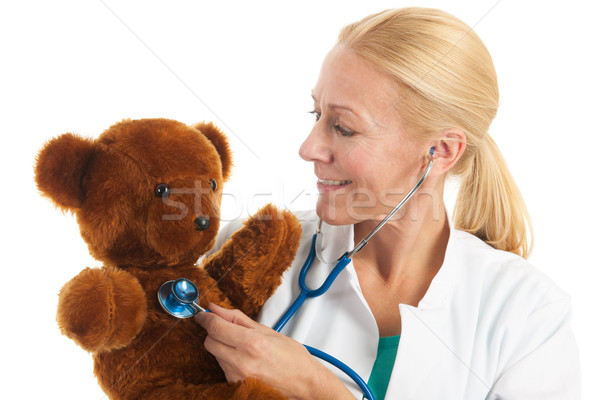 小児科医 詰まった クマ リスニング ハートビート 医療 ストックフォト © ivonnewierink