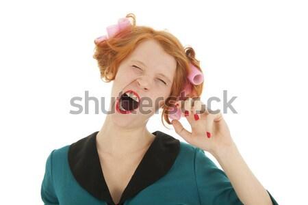 Nő haj ásít fiatal nő rúzs izolált Stock fotó © ivonnewierink