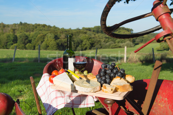 French cheese wine and bread Stock photo © ivonnewierink