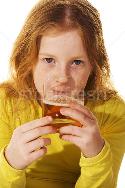 Criança potável álcool negligenciadas menina garrafa Foto stock © ivonnewierink