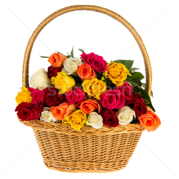Colorful bouquet roses in basket Сток-фото © ivonnewierink