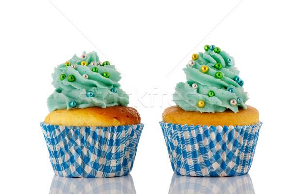 Kék zöld minitorták vajkrém izolált fehér Stock fotó © ivonnewierink