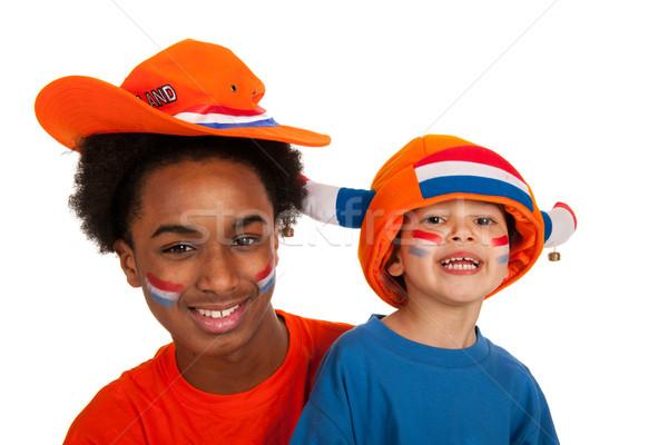 Stock fotó: Fiatal · holland · futball · kettő · izolált · fehér
