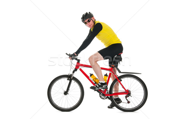 Mountainbiker in studio Stock photo © ivonnewierink