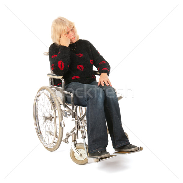 Sadness woman of mature age in wheel chair Stock photo © ivonnewierink