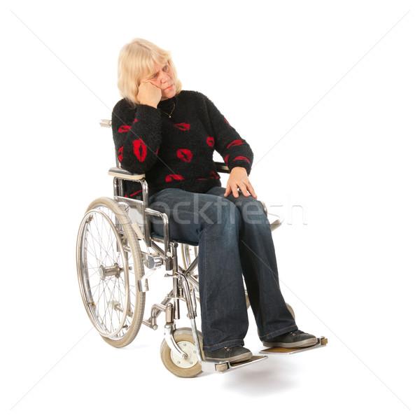 Tristesse femme maturité âge roue président Photo stock © ivonnewierink