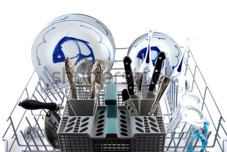 Bulaşık makinesi mavi beyaz Çin mutfak fincan Stok fotoğraf © ivonnewierink