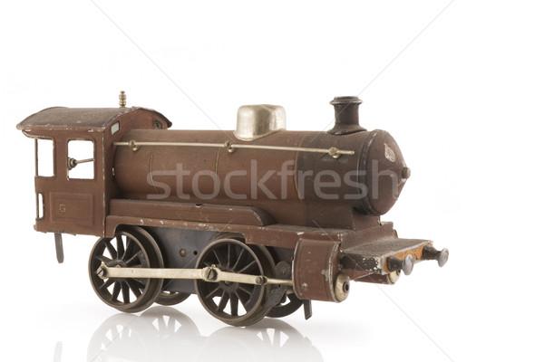 Oude stoomlocomotief roestige water trein retro Stockfoto © ivonnewierink