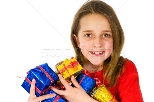 Mutlu kız çok lüks kız kırmızı şerit Stok fotoğraf © ivonnewierink