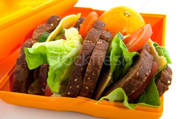 Egészséges ételhordó doboz egész étel kenyér sajt Stock fotó © ivonnewierink