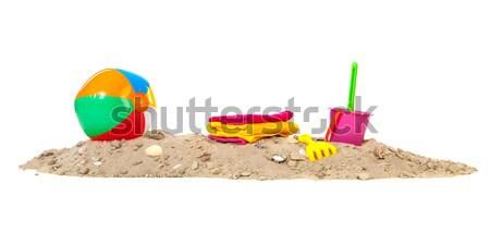 двухуровневый стробирующий импульс пляж пластиковых игрушками изолированный белый Сток-фото © ivonnewierink