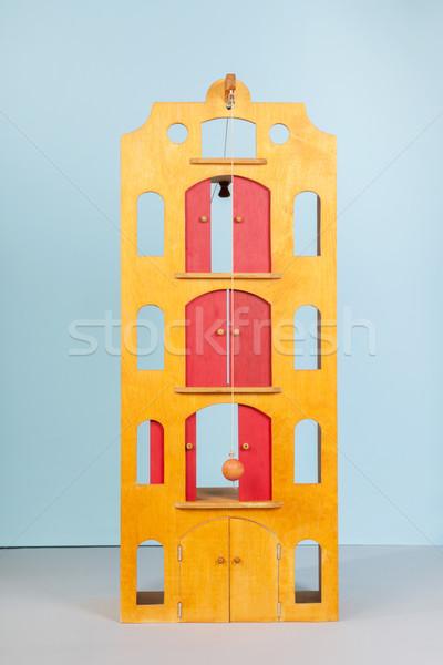 Houten speelgoed magazijn huis achtergrond Blauw speelgoed Stockfoto © ivonnewierink