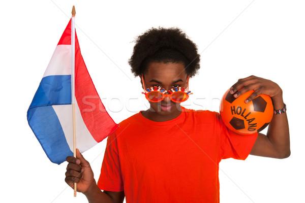 Fußball Anhänger orange Mann Stock foto © ivonnewierink
