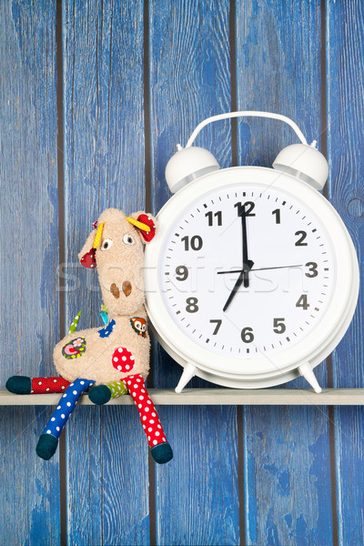 Stuffed animal giraffe and clock for bedtime Stock photo © ivonnewierink