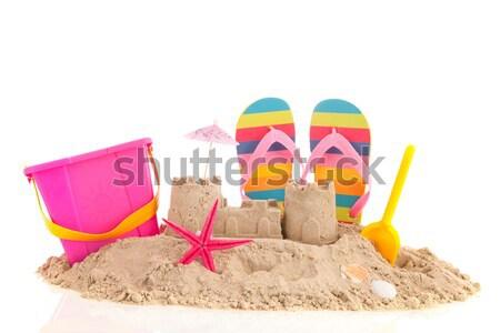 двухуровневый стробирующий импульс игрушками пляж семьи отпуск изолированный Сток-фото © ivonnewierink