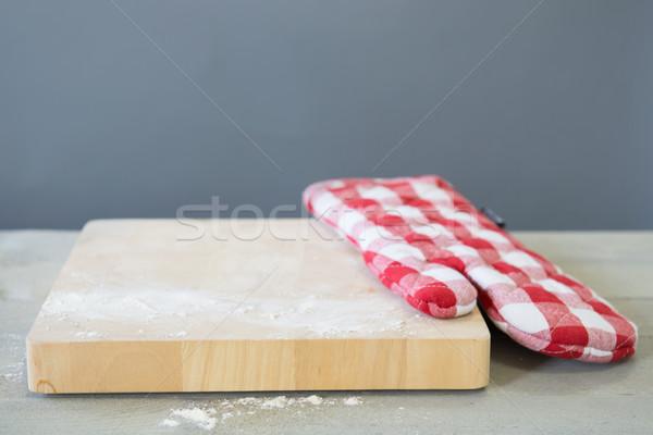 wooden board with flour Stock photo © ivonnewierink