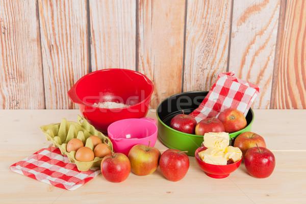 Sütés almás pite hozzávalók torta tojások főzés Stock fotó © ivonnewierink