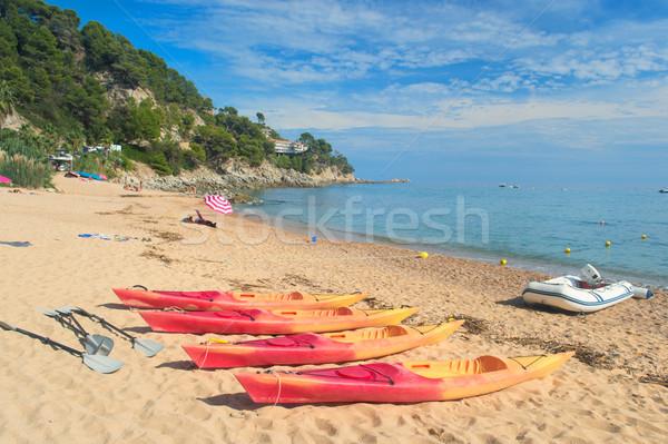 Plage jaune espagnol eau été plastique Photo stock © ivonnewierink