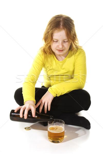 Negligenciadas menina bebidas álcool potável criança Foto stock © ivonnewierink