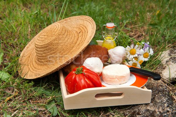 французский хлеб сыра овощей нефть Открытый цветы Сток-фото © ivonnewierink