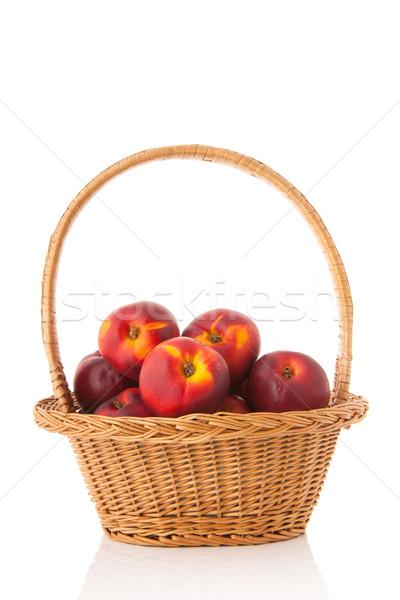 Basket fresh nectarines Stock photo © ivonnewierink