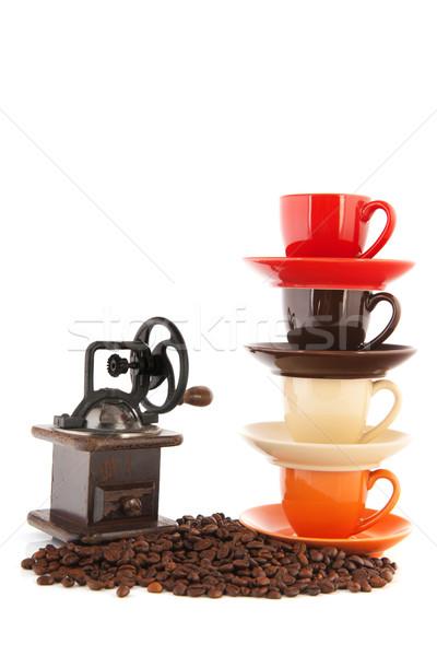Granos de café aislado blanco naranja Foto stock © ivonnewierink