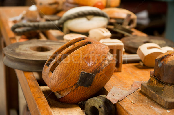 Old wooden pulleys Stock photo © ivonnewierink