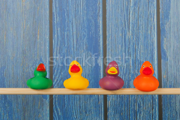 Funny zabawki kąpieli Stick klatki niebieski Zdjęcia stock © ivonnewierink