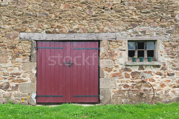 Velho francês celeiro portas janela grama Foto stock © ivonnewierink
