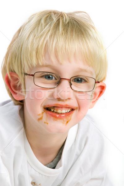 Bałagan czekolady chłopca dziecko Zdjęcia stock © ivonnewierink