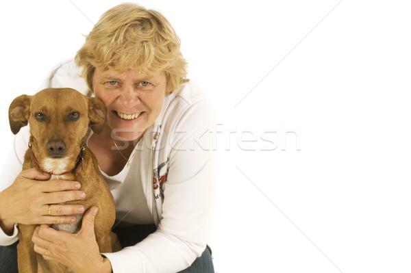 Cão pequeno cão marrom mulher amigos Foto stock © ivonnewierink