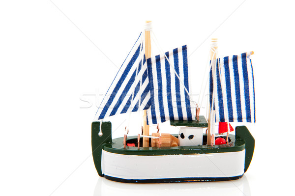 Vissersboot miniatuur geïsoleerd witte achtergrond Blauw Stockfoto © ivonnewierink