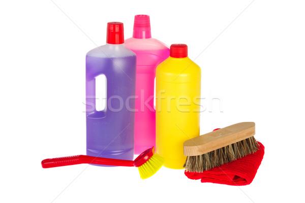 Produktów czyszczących butelek biały studio mydło dania Zdjęcia stock © ivonnewierink