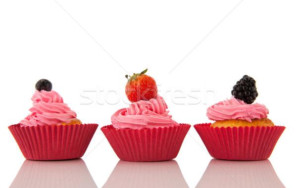 Gyümölcs minitorták rózsaszín vajkrém friss gyümölcs izolált Stock fotó © ivonnewierink