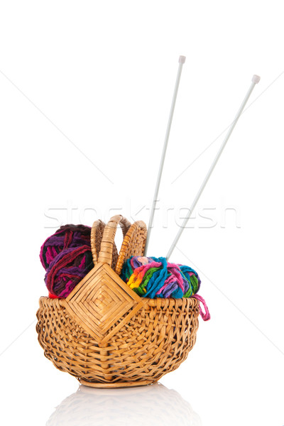 modern wool in basket with needles Stock photo © ivonnewierink