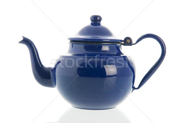 Mavi emaye çay pot Retro yalıtılmış Stok fotoğraf © ivonnewierink