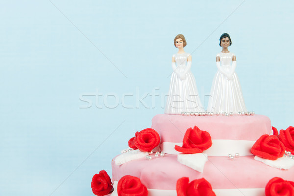 Bolo de noiva lésbica casal rosa rosas vermelhas topo Foto stock © ivonnewierink