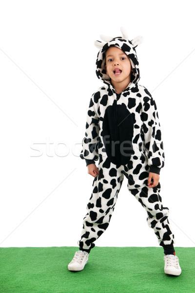 Little boy as happy cow in the meadows Stock photo © ivonnewierink