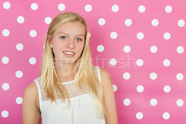 Blond teen girl studio portret dziewczyna włosy Zdjęcia stock © ivonnewierink