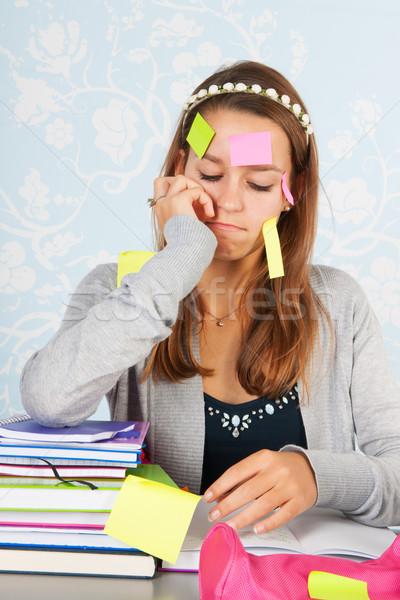 十代の少女 座って デスク 宿題 学校 少女 ストックフォト © ivonnewierink