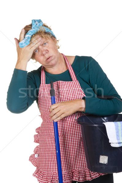 汚れ ほこりっぽい 汚い 家 女性 ブラシ ストックフォト © ivonnewierink