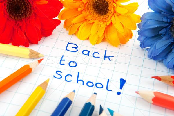 Stockfoto: Terug · naar · school · vrolijk · kleuren · bloemen · potloden · onderwijs