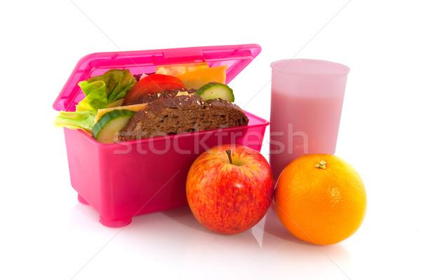 ételhordó doboz egészséges étel rózsaszín egészséges egész étel Stock fotó © ivonnewierink